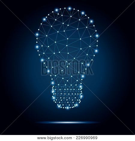 Lightbulb Low Poly Design With Connecting Dots, Stars. Internet Technology Icon Triangle Polygonal N