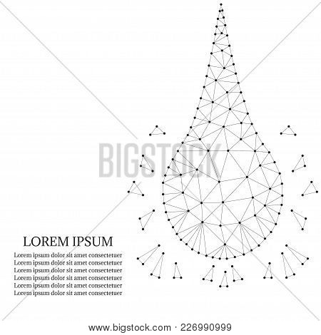 Polygonal Water Or Collagen And Oil Drop Droplet On White Background. Low Poly Polygon Design. Beaut
