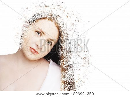 Beautiful Young Model With Red Lips. Disintegration Effect.