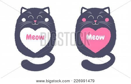 Vector Gray Cat In Cartoon Style. Funny Illustration Of Sitting Gray Kitten With Closed Eyes, With W