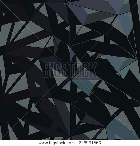 3d Futuristic Geometric Background, Black Color Lines