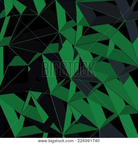 3d Futuristic Geometric Background, Green Color Lines
