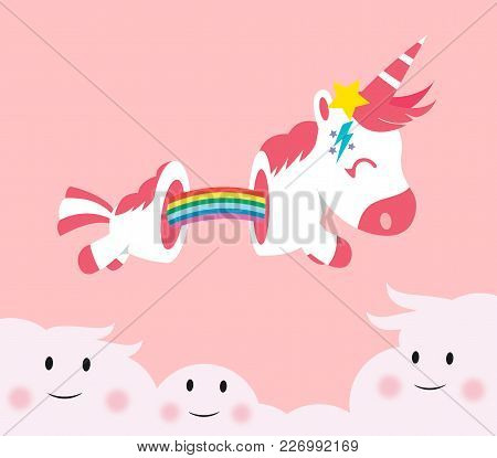 Cute Unicorn Cartoon With Pink Hair And Horn, The Body Cut By The Elastic Rainbow, Jumping On The Lo
