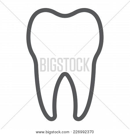 Tooth Line Icon, Stomatology And Dental, Healthy Dent Sign Vector Graphics, A Linear Pattern On A Wh