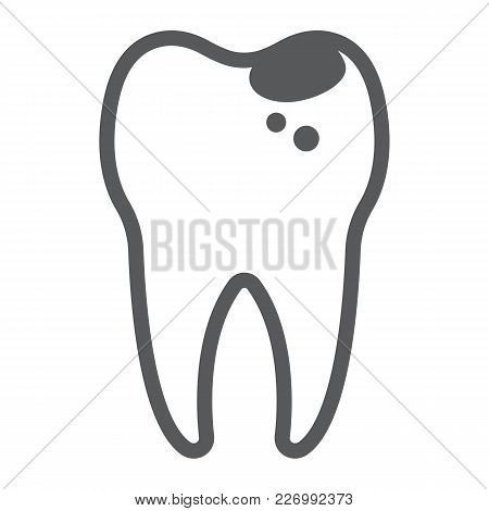 Sick Tooth Line Icon, Stomatology And Dental, Caries Sign Vector Graphics, A Linear Pattern On A Whi
