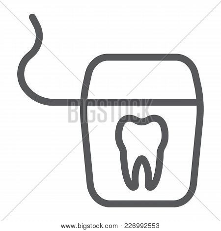 Dental Floss Line Icon, Stomatology And Dental, Clean Sign Vector Graphics, A Linear Pattern On A Wh
