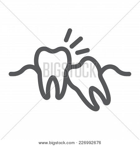 Wisdom Teeth Line Icon, Stomatology And Dental, Impacted Tooth Sign Vector Graphics, A Linear Patter