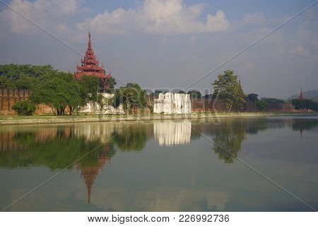 Defensive Wall Of The Old City In The Morning Haze. Mandalay, Myanmar