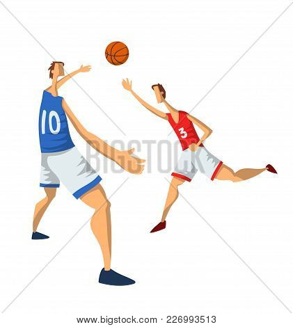 Basketball Players In Abstract Flat Style. Men Playing With A Basketball Ball. Vector Illustration,