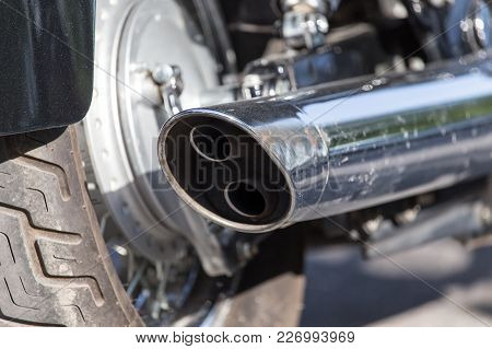 Beautiful Detail Of The Motorcycle. Exhaust Pipe .