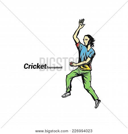 Sketch Of Cricket Player, Uniform, Tournament On White Background With Typography Vector Illustratio