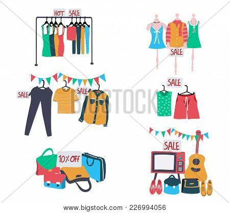 Set Of Second Hand Clothes And Accessories On Sale, All In Colorful Doodle Flat Style, Isolated On W