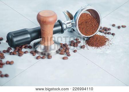 Coffee Making Equipment With Copy Space. Barista Tools Concept. Portafilter With Ground Coffee On A