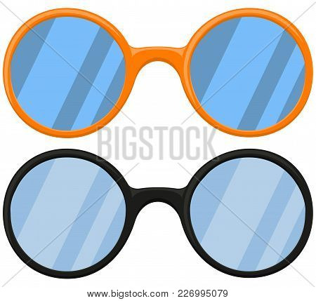 Cartoon Icon Poster Glasses, Spectacles Black Orange Set. Fashion Vector Illustration For Gift Card
