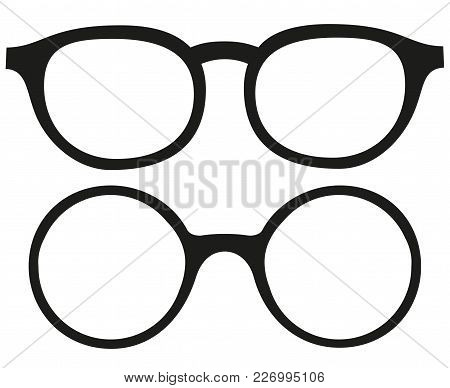 Cartoon Icon Poster Glasses, Spectacles Silhouette Set. Fashion Vector Illustration For Gift Card Ce