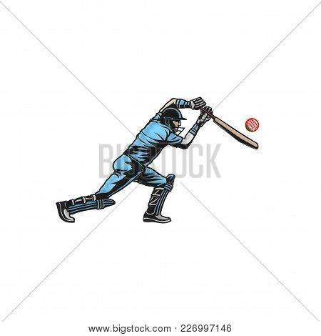Cricket Player Hit Big Shoot On White Background Vector Illustration Design.