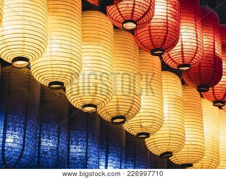 Japan Lantern Japanese Festival In Temple Colourful Paper Lantern Light Decoration