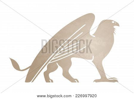 Silhouette Of Griffin. Stylized Tattoo, Graphic Image. Vector Illustration Of Mythical Creature. Iso