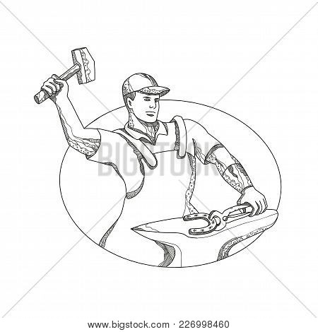 Doodle Art Illustration Of A Farrier Wielding A Hammer Striking, Forging A Horseshoe On Anvil Done I
