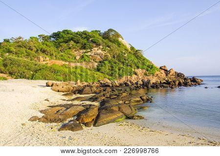 Coastal Landscape Of Pigeon Island, Near Trincomalee, Off The Coast Of Eastern Sri Lanka.