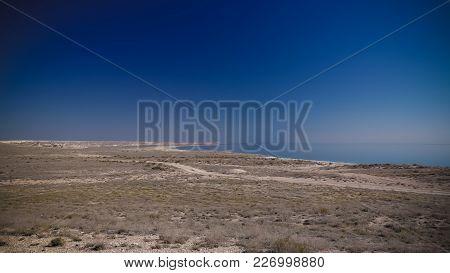 Panorama View To Aral Sea From The Rim Of Plateau Ustyurt Near Aktumsuk Cape At Karakalpakstan, Uzbe