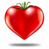Healthy lifestyle symbol represented by a red tomato in the shape of a heart to show the health concept of eating well with fruits and vegetables. poster