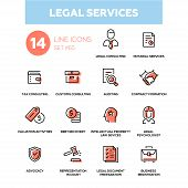 Legal services - line design icons set. Tax, customs consulting, notarial, auditing, contract formation, valuation activities, debt recovery, intellectual property law, psychologist, advocacy, etc poster