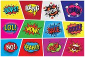Pop art comic vector speech cartoon bubbles in popart style with humor text boom or bang bubbling expression asrtistic comics shapes set isolated on background illustration. poster