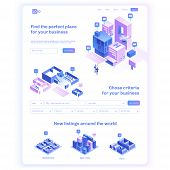 Find commercial real estate for your business. Choose criteria for office. Isometric vector illustation with buildings. Landing page concept poster