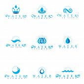 Fresh mineral water design emblems like water drops, H2O symbols, wave splash and limitless logotypes. Cleaning services business logo, water treatment concept. poster
