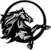 Graphic Mascot Image of a Mustang Bronco Horse poster