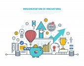 Implementation of innovations. Introduction of innovative technologies, technical progress, investment in innovation, creative process, start-up, research activity. Illustration thin line design. poster