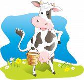 Cute cartoon cow carrying bucket with milk. Vector illustration poster