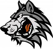 Graphic Team Mascot Image of a Wolf Head poster