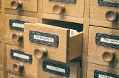 The Archives Card Catalog , old wooden file catalog box, index , database, archive and library concept. poster