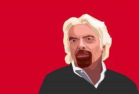 Feb,2018: Famous Entreperneur Richard Branson Vector Portrait