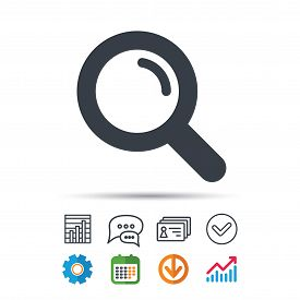 Magnifier Icon. Search Magnifying Glass Symbol. Statistics Chart, Chat Speech Bubble And Contacts Si