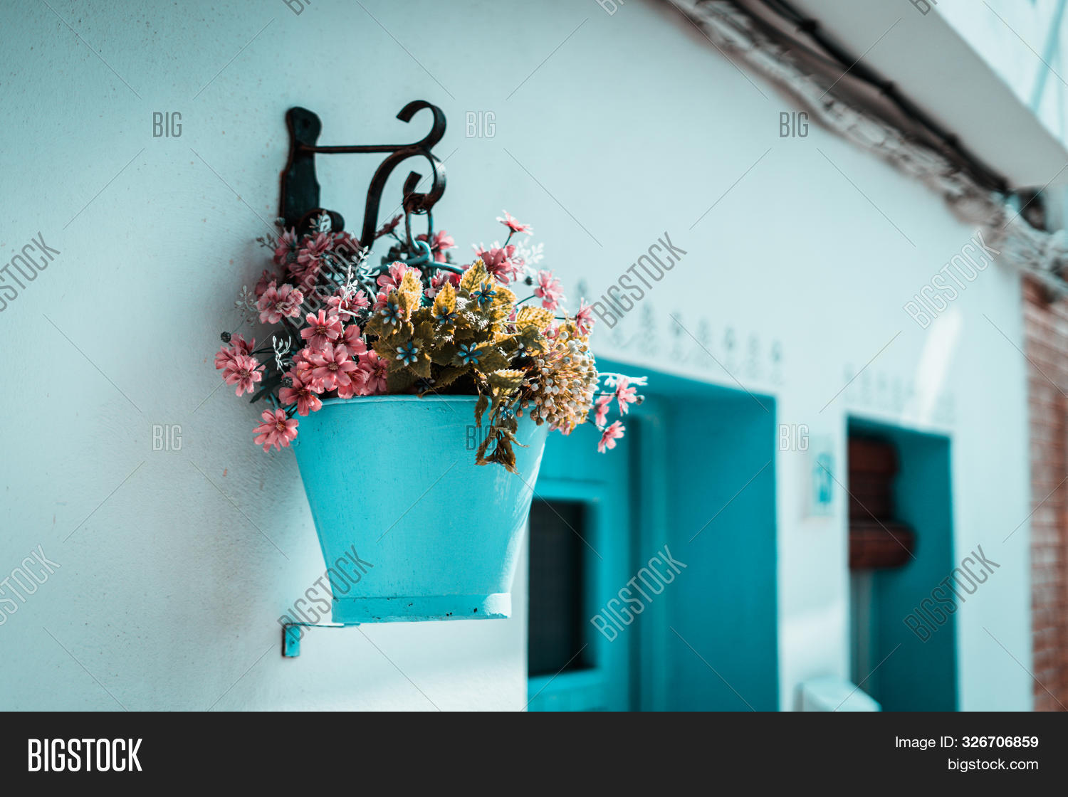 Pink Flowers Blue Image Photo Free Trial Bigstock