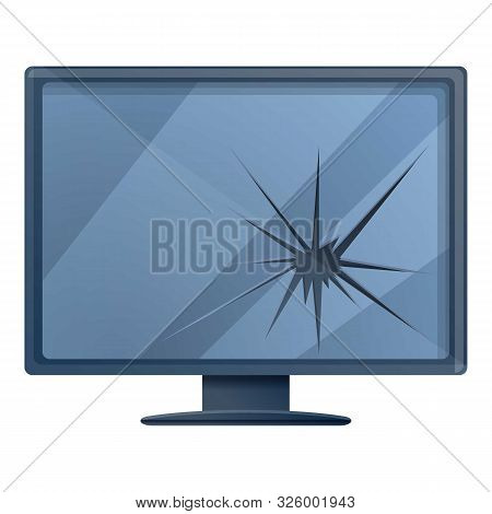 Broken Lcd Monitor Icon. Cartoon Of Broken Lcd Monitor Vector Icon For Web Design Isolated On White