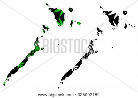 Mimaropa Region (regions And Provinces Of The Philippines) Map Is Designed Cannabis Leaf Green And B