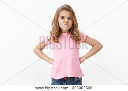 Ignorant Moody Childish Cute Little Blond Kid Daughter Showing Character, Sulking Frowning Displease