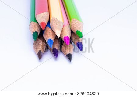 Crayons - Colored Pencil, Color Pencils, Close Up Macro Shot Of Color Pencil Pile Pencil Nibs, Used