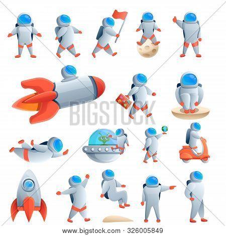 Astronaut Icons Set. Cartoon Set Of Astronaut Vector Icons For Web Design