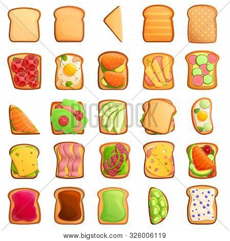 Toast Icons Set. Cartoon Set Of Toast Vector Icons For Web Design