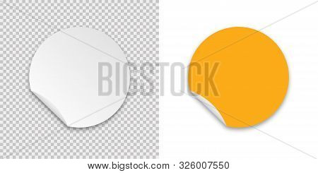 Sticker Realistic Template With Sticker On Transparent Background. Label Sticker Icon. Vector Mockup
