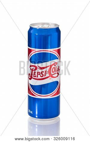 Samutsongkarm, Thailand, October 6, 2019: Pepsi Can On White Background. Pepsi Is A Carbonated Soft