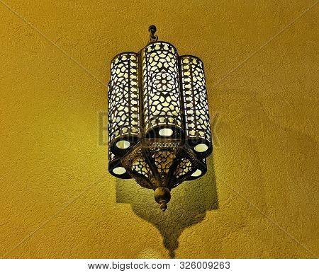 Morocco Ornate Metal Lamp In The Wall Of A Mosque, Qatar.morocco Style Lamp Or Lantern. Morocco Moro