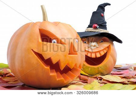 Pumpkin For Halloween Isolated On White Background. Jack Lantern Head Carved From Pumpkin For Hallow