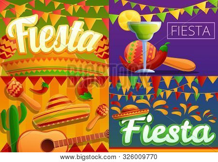 Fiesta Banner Set. Cartoon Illustration Of Fiesta Vector Banner Set For Web Design
