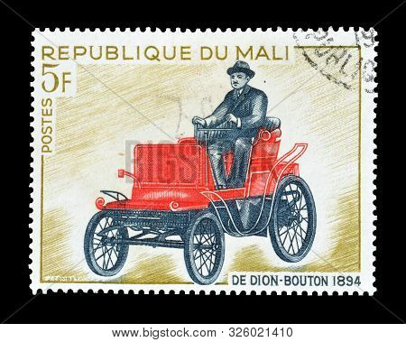 Cancelled Postage Stamp Printed By Mali, That Shows De Dion Bouton Vehicle From 1894, Circa 1968.
